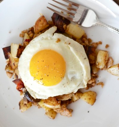 Heavenly skillet hash with sausage, mushrooms & Parmesan