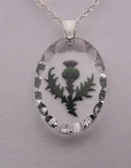 Hand M Oval Thistle Pendant