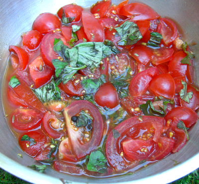 Preparing the tomato essence