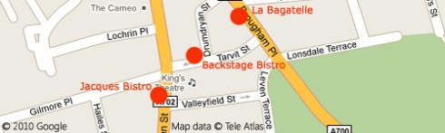 Map of Tollcross showing the locations of the three restaurants mentioned in this article.