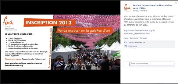 FIMA | lancement officiel des inscriptions pour la prochaine édition du FIMA qui se déroulera cette année du mercredi 12 juin au dimanche 16 juin 2013.