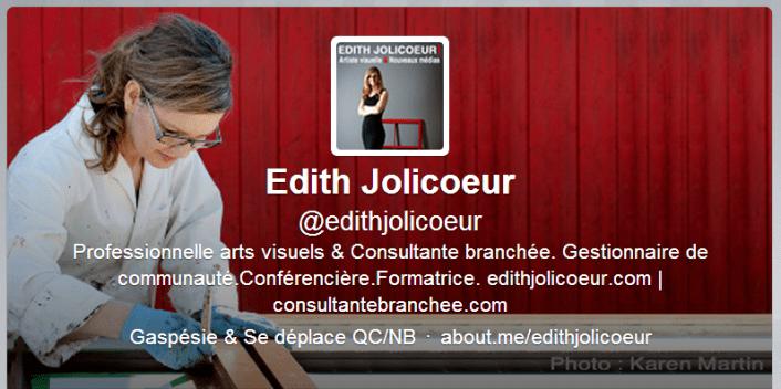 Capture Edith Jolicoeur artiste visuelle et consultante branchée