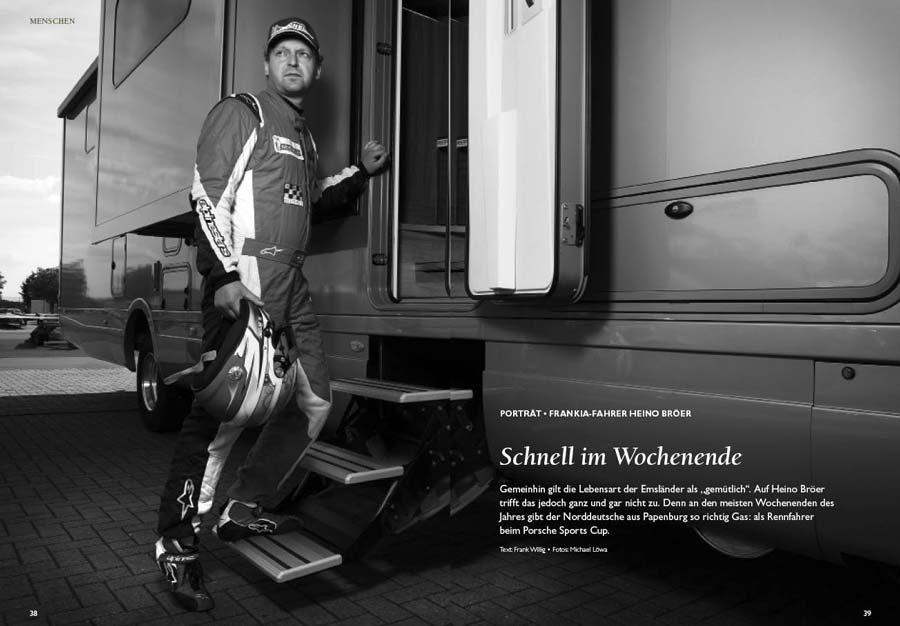 Porsche-Sports-Cup-Fharer Heino Bröer steht in der Tür seines Frankia-Wohnmobils.