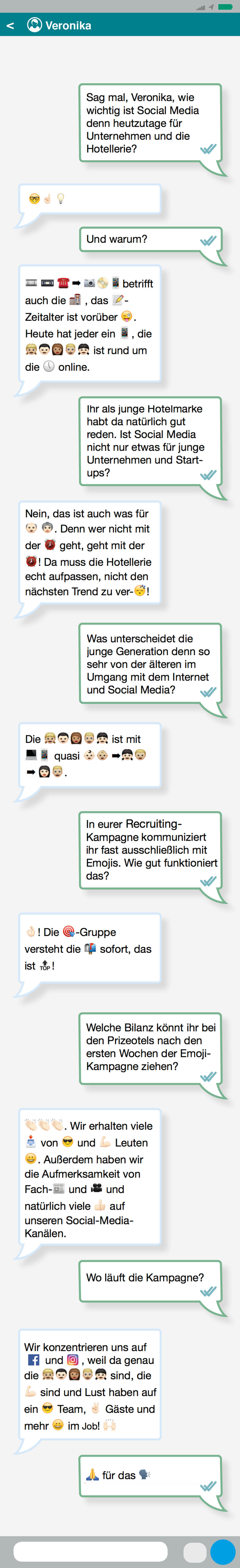 Interview in Whatsapp-Optik über die Generation Y, Emojis, Social Media und die Prizeotel-Rekrutierungskampagne.