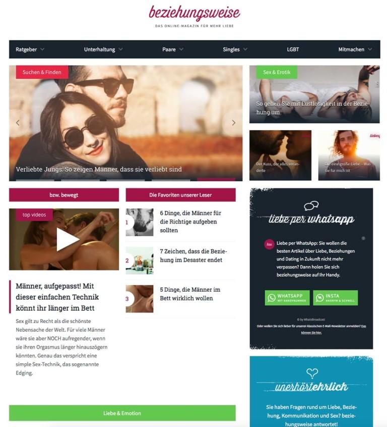 Screenshot der Startseite des Beziehungsweise-Onlinemagazins von Parship.