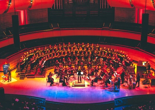 The Edmonton Metropolitan Chorus performing at the Francis Winspear Centre for Music - Photo courtesy of Hal Thiessen