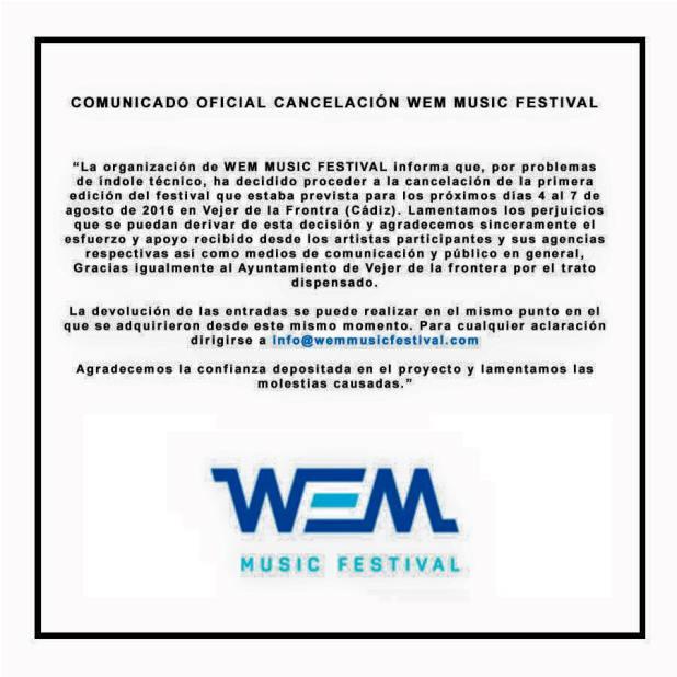 comunicado WEM Music Festival