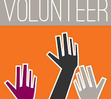 Picture of abstract hands being raised as volunteers