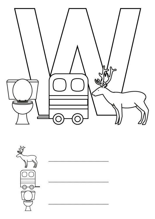 Imágenes con w para colorear | EducAnimando