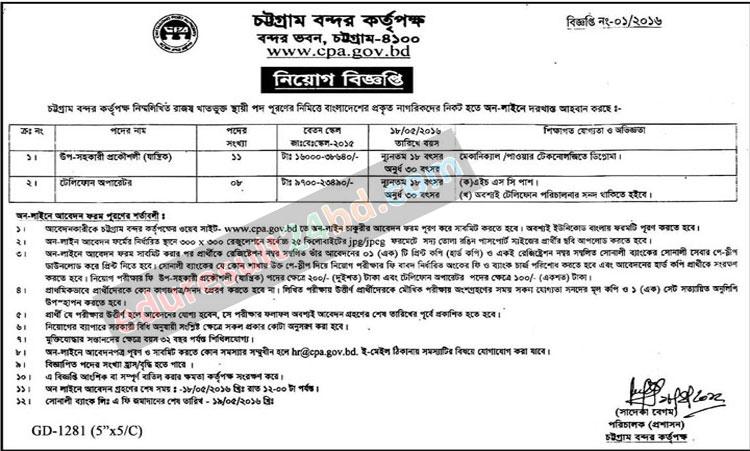 Chittagong Port Authority Job Circular 2016