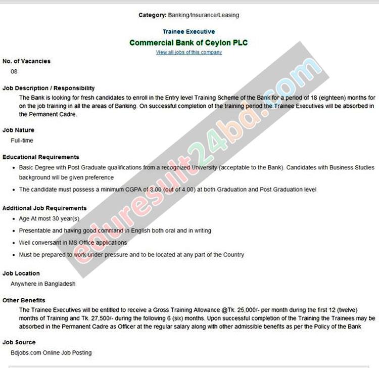 Commercial Bank Ceylon PLC Job Circular 2016