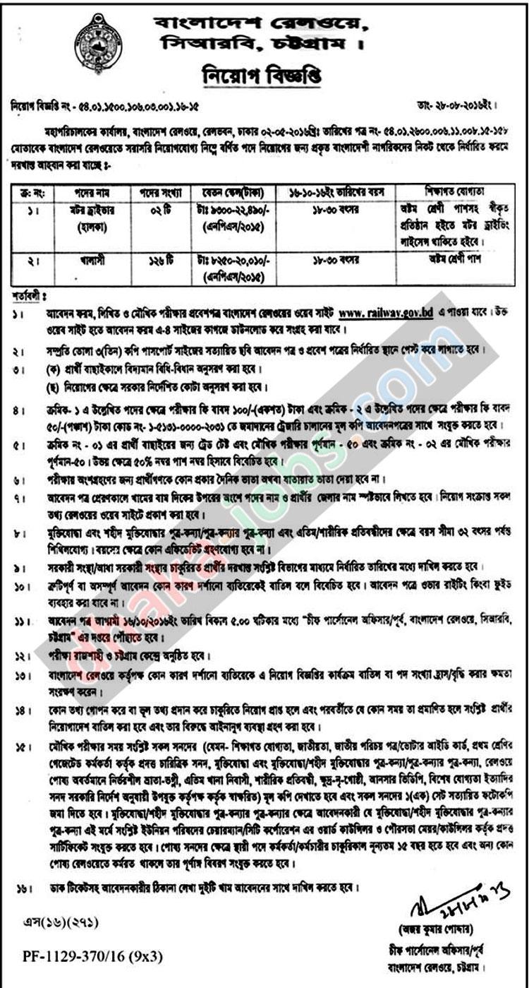 Railway Bangladesh Job Circular 2016