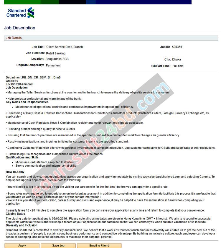Standard Chartered Bank Job Circular 2016