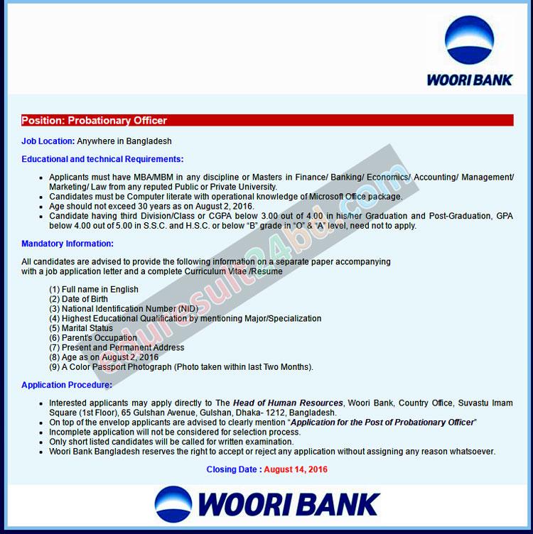 Woori Bank Job Circular 2016