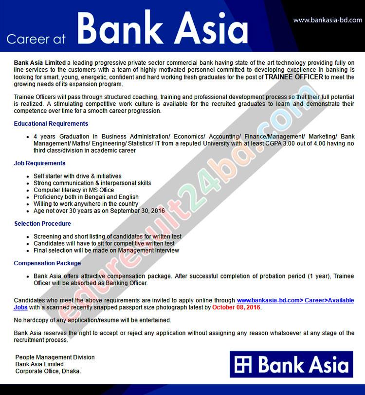 Bank Asia Limited Job Circular 2016