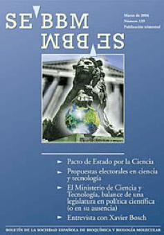 Portada del nº 139, de marzo de 2004 de la revista SEBBM, en el que se formula la propuesta de Pacto de Estado por la Ciencia