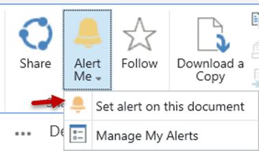 ODB Alert Me Set alert on this document