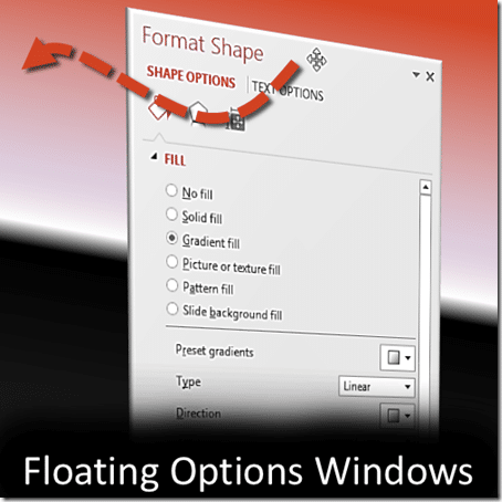 Office task panes can be come floating dialogues in Office 2013