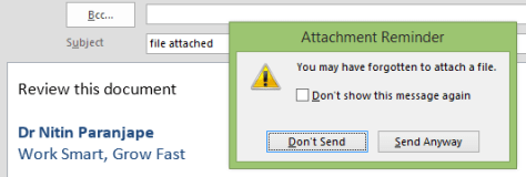 outlook attachment reminder
