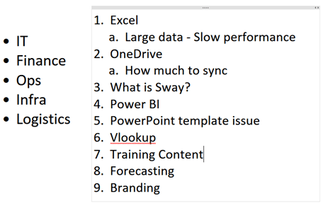 OneNote as a presentation tool - Participant expectations