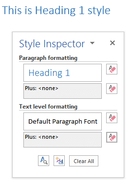 Word Style Inspector - Clear Formatting
