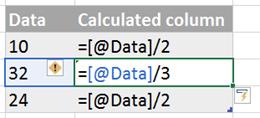 Formulas after Table AutoCorrect Formula is deactivated