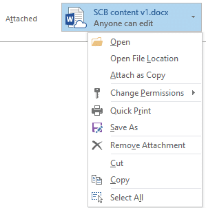 Outlook Attachments - Options