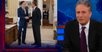 Jon Stewart Funny Take on President Obama's Whitehouse Lunch Date With Mitt Romney (VIDEO)