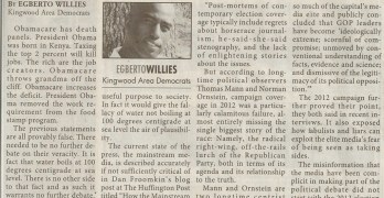 America Dodged A Bullet Despite Negligent Press by Egberto Willies -Kingwood Observer (2012-12-19)