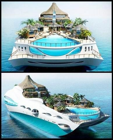 11. O casa amenajata intr-un iaht de lux cu piscina incorporata