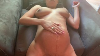 Pregnant humiliation from ass to belly cum shot