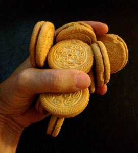 a handful of vanilla sandwich cookies