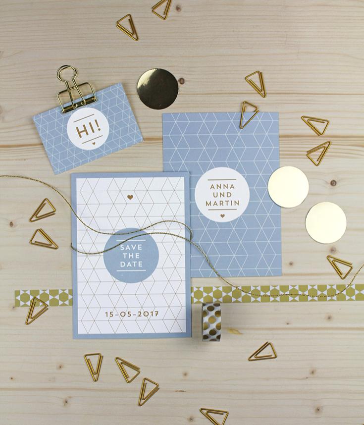 Hochzeitspapeterie, Dreiecke, Gold, Hellblau