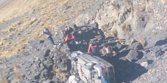 Así quedó la vagoneta de Tito Hoz de Vila tras el accidente en la Rinconada