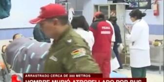 La Paz. Un hombre muere en el hospital tras ser arrastrado 300 metros por un bus