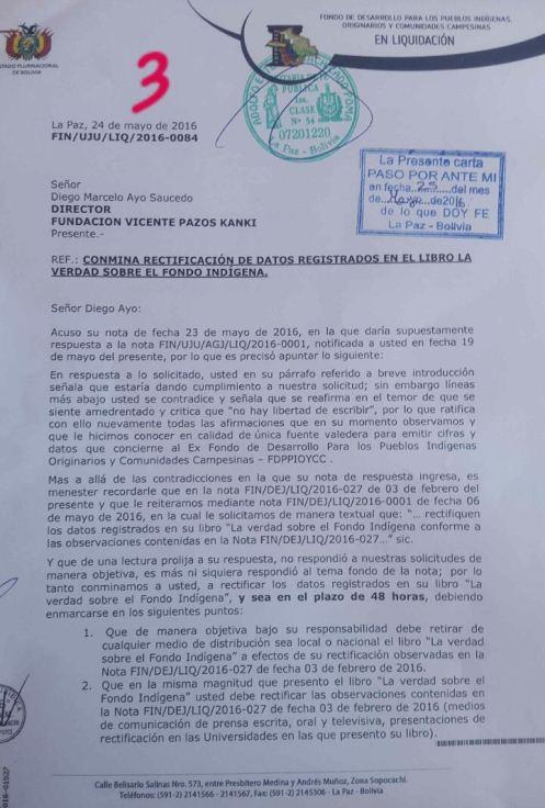 Gobierno conmina a Diego Ayo a cambiar versión sobre desfalco en Fondo Indígena