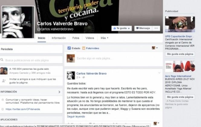 Valverde cierra su programa de Tv porque