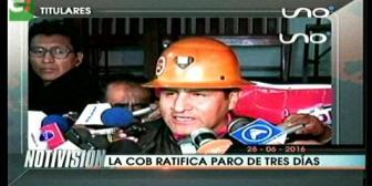 Titulares de TV: La COB ratifica paro de tres días