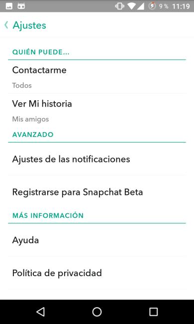 Snapchat - Privacidad