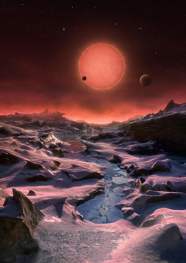Si llegan los astronautas verán el mundo en color rojo obscuro, ya que TRAPPIST-1 es una estrella enana que produce muy poca luz de color ocre.