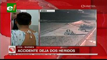 Warnes: Cámara graba doble accidente con un saldo de dos heridos