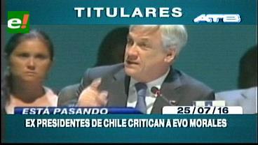 Titulares de TV: Ex presidentes chilenos llaman mentiroso a Evo, emplazan al mandatario a cumplir con sus compromisos