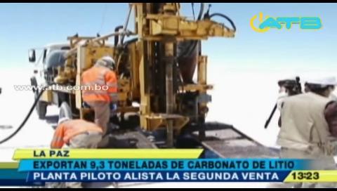 Bolivia vendió 9,3 toneladas de carbonato de litio a China