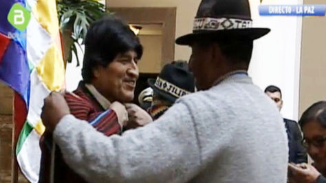 Morales recibió a autoridades de Tiwanaku en Palacio y comprometió proyectos para la localidad