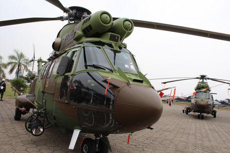 Los helicópteros Súper Puma que entregó el presidente Evo Morales en en Santa Cruz . Foto: ABI