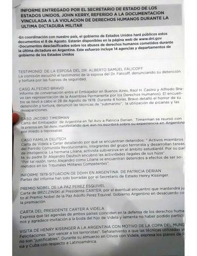 Informes sobre violaciones a los derechos humanos durante la dictadura entregados por la diplomacia estadounidense.