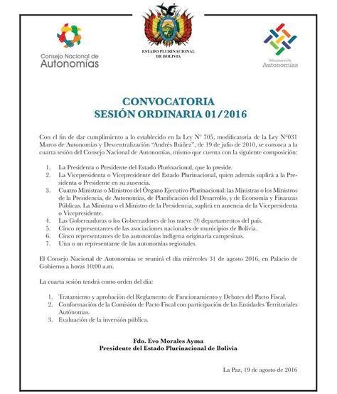 La convocatoria que lanzó el presidente Evo Morales para la reunión del Consejo Nacional de Autonomías.
