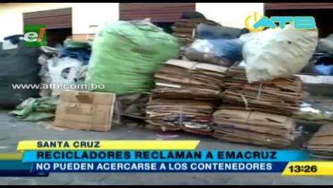 Denuncian que campaña de Emacruz perjudica el trabajo de recicladores en Santa Cruz