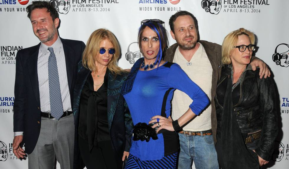 De izquierda a derecha: David, Rosanna, Alexis, Richmond y Patricia Arquette, en 2014.