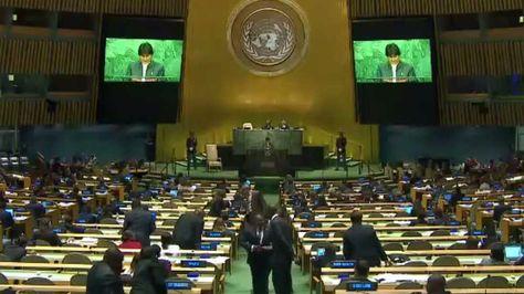 El presidente Evo Morales durante su intervención en la Asamblea General de la ONU. Foto: Captura Bolivia Tv